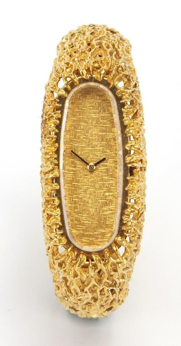 Ladies 9ct gold Bucherer wristwatch with naturalistic design, approximate weight 50.4g Further