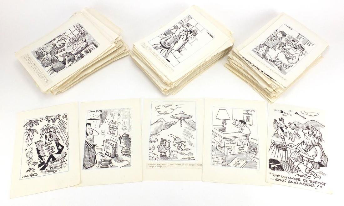Robert Coram - Extensive collection of approximately 400 original cartoon ink illustrations, most