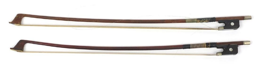 Two old wooden cello bows, one stamped Rich Steiner, the largest 59cm in length Further condition