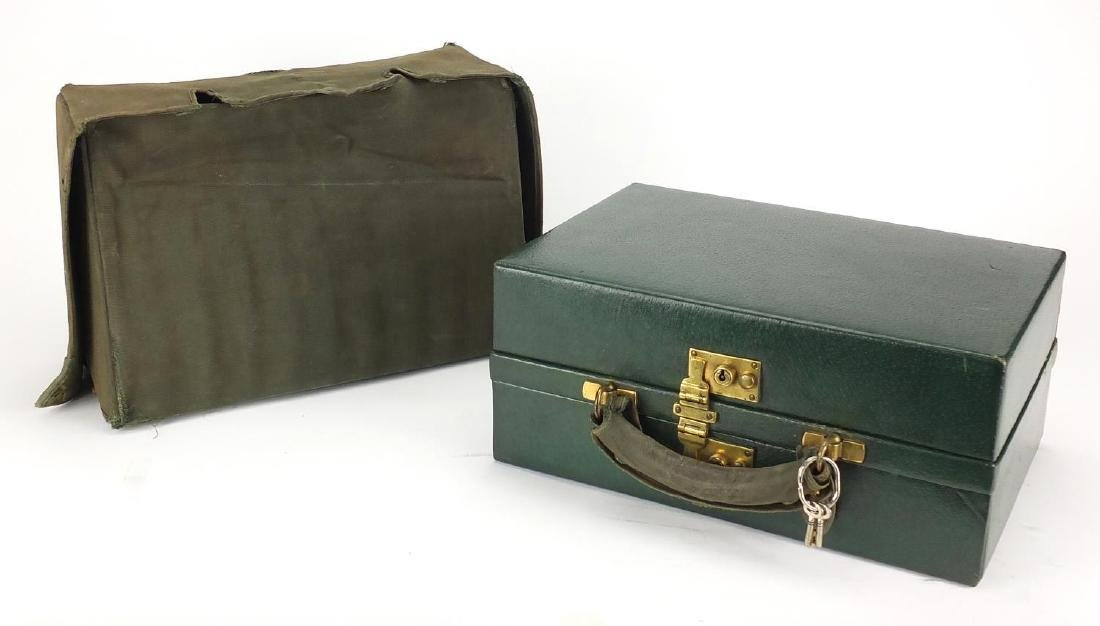 Victorian leather travelling vanity case by Apsrey of London, with protective jacket and silk