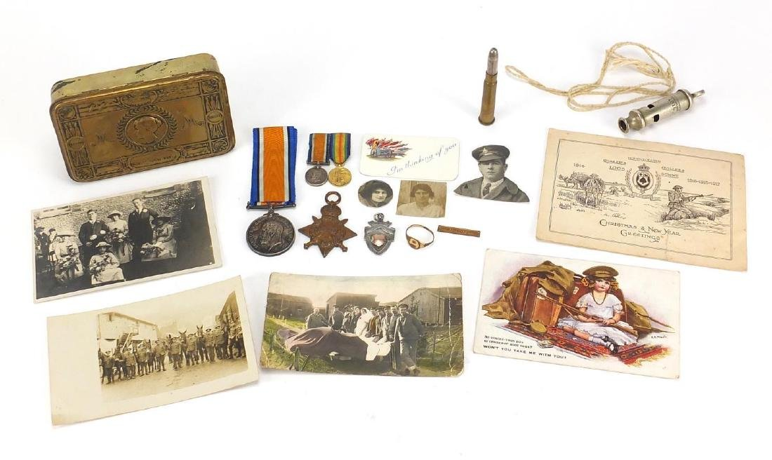 British Military World War I medals, Militaria and photographs relating to G-647PTE.B.J.E.GRANT.R.