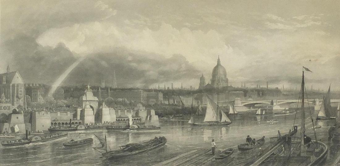 Thames embankment, black and white etching, engraved by T A Prior, published by Brook & Roberts