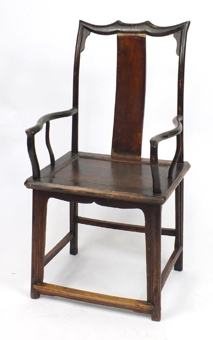 Chinese hardwood Yoke back chair, 112cm high Further condition reports can be found at the