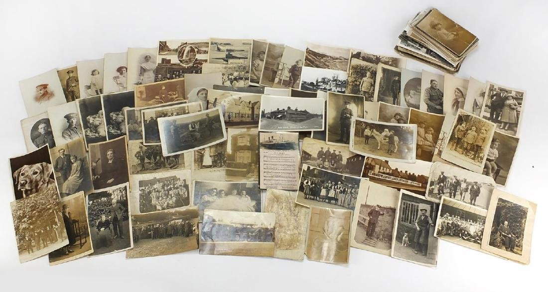 Predominantly First World War and Social history postcards, some black and white including house