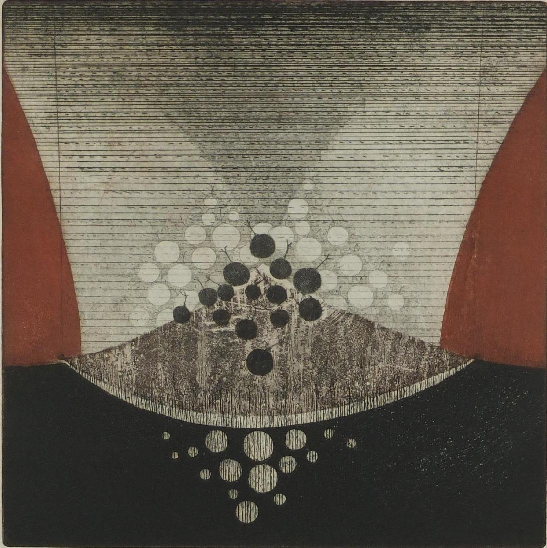 Johon Van Reede - Cherries, pencil signed etching in colours, limited edition 4/20, labels verso,
