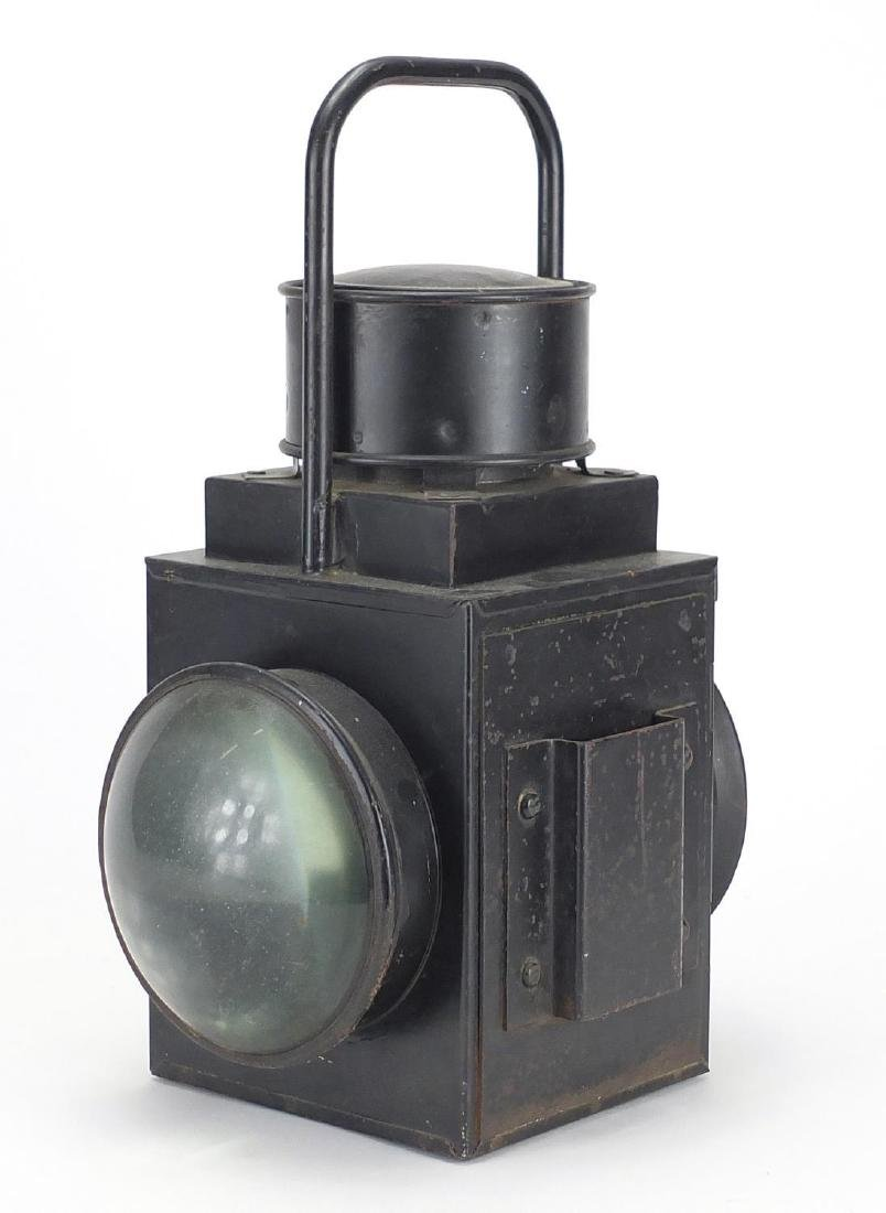 Black painted railway lantern with Sherwood ceramic burner and square body, 35cm high Further