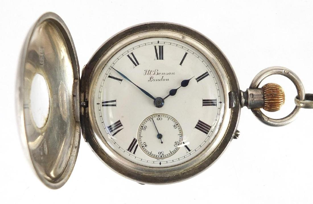 Silver and enamel half hunter pocket watch by J W Benson of London, with silver watch chain