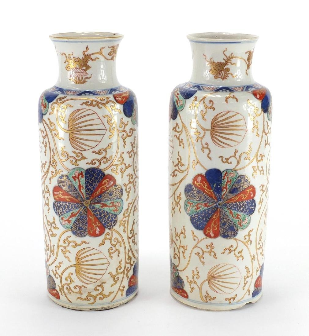 Pair of Chinese porcelain cylindrical vases, possibly Kangxi period, both hand painted in the