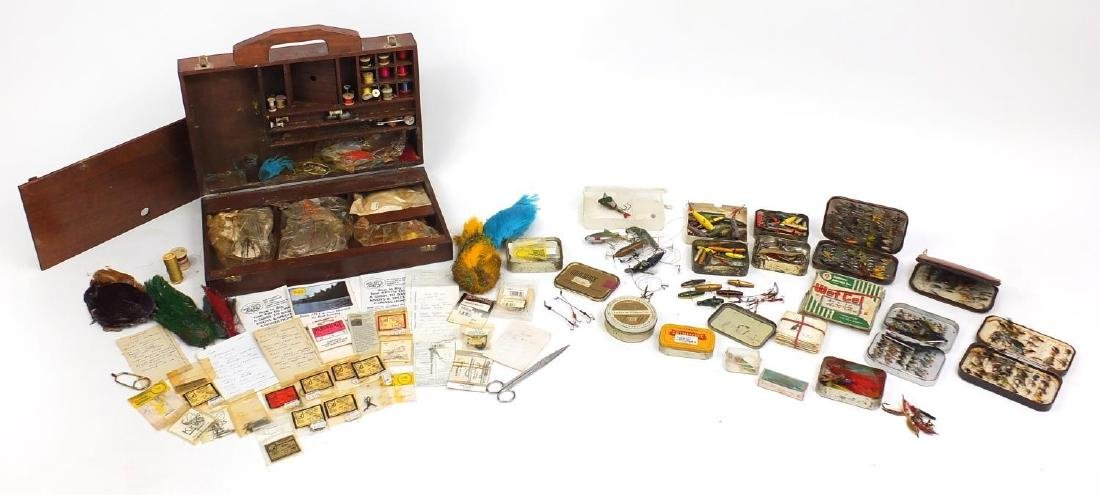 Vintage fly fishing tackle including complete flies and fly making equipment Further condition