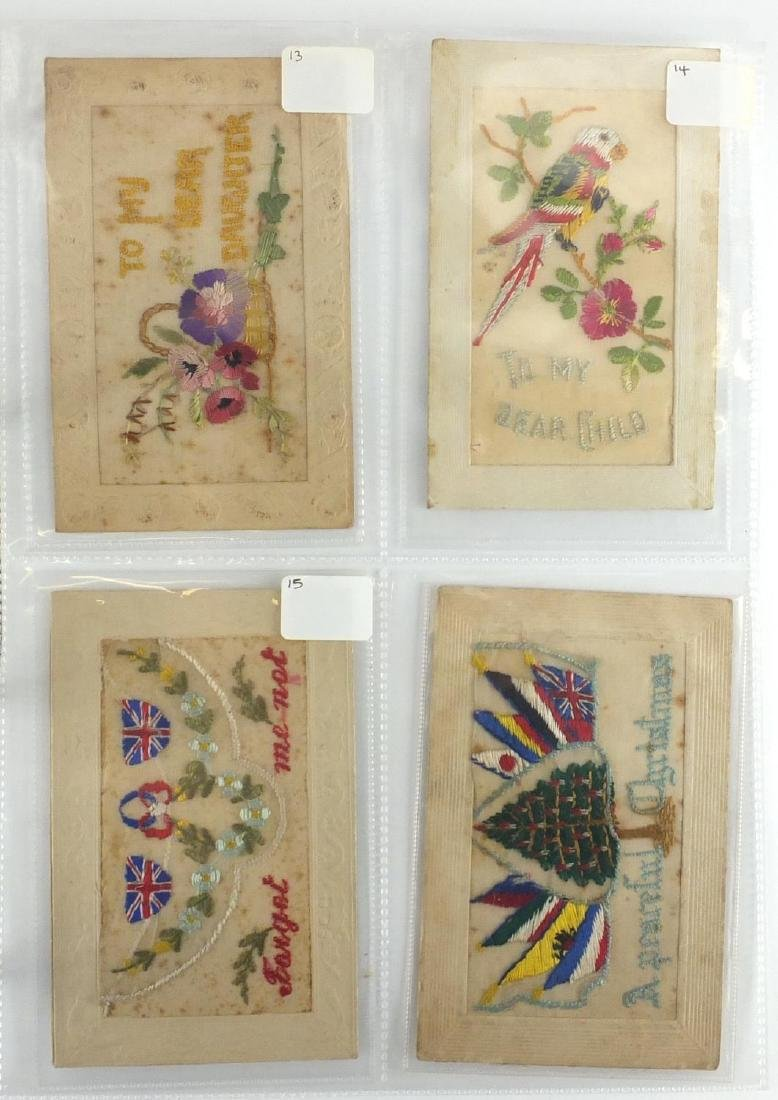 Twenty three Military silk embroidered postcards including Forget Me Not and greetings examples