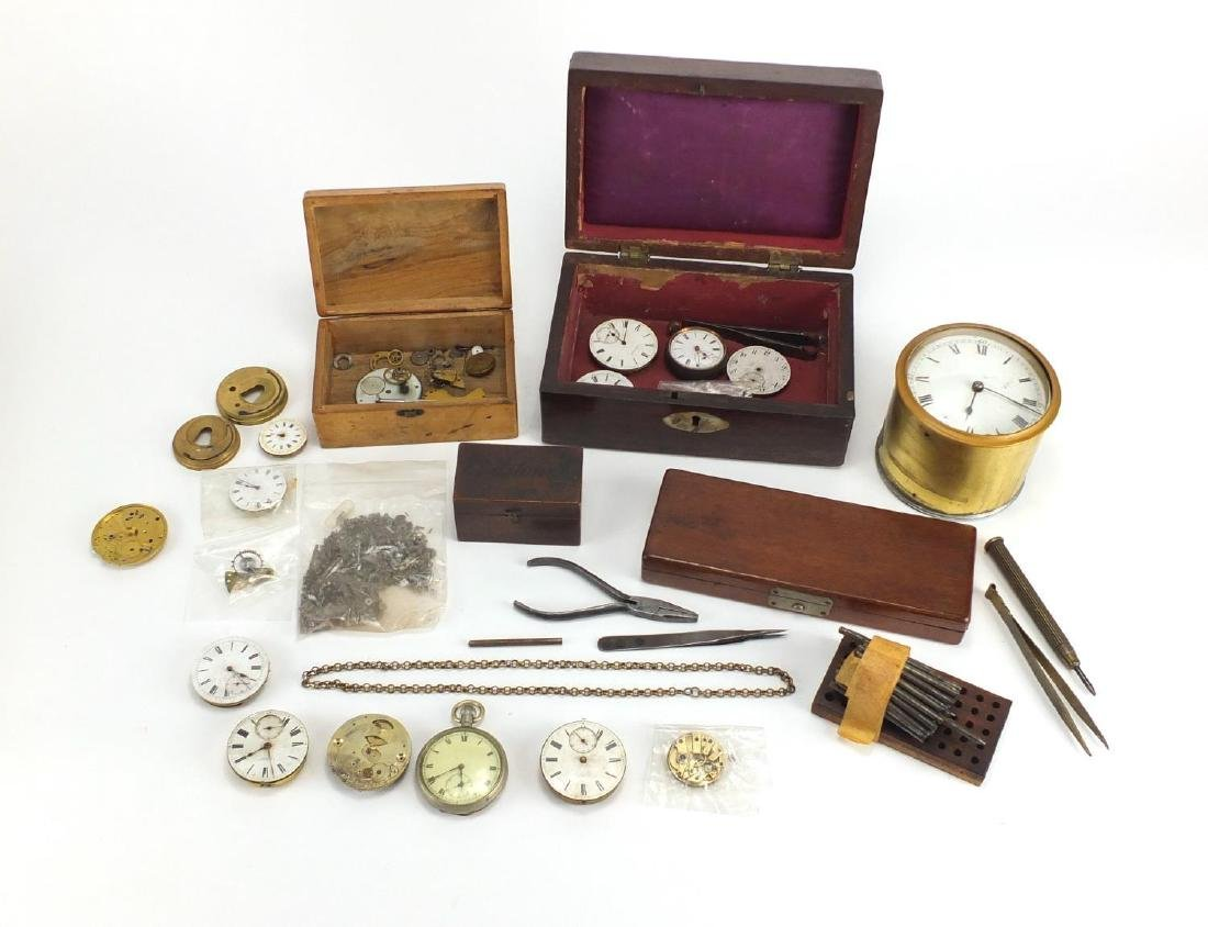 Collection of vintage pocket watches, movements and watch tools Further condition reports can be
