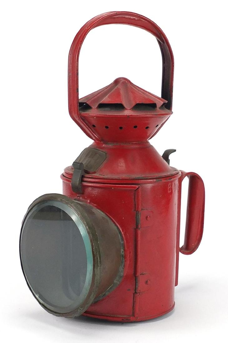 North British Rail red painted railway lantern, with bevelled glass and Sherwood burner impressed