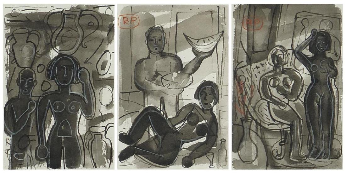 Abstract composition, nude figures, triptych watercolour and wash, two bearing a monogram RP,