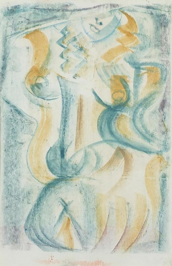 Attributed to Andre Mansson - Abstract compositions, surreal nude female, double sided crayon on