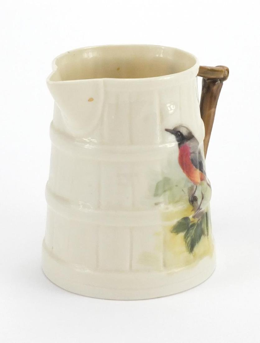 Royal Worcester naturalistic porcelain jug hand painted with a Redstart by Powell factory marks to