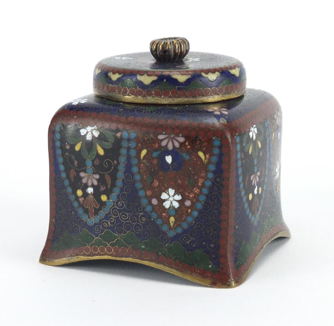 Japanese cloisonné desk inkwell with glass liner, enamelled with flowers, 7.5cm high Further
