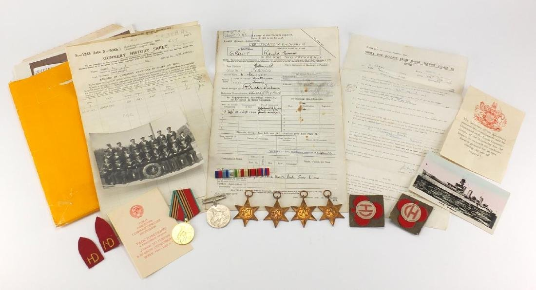 British Military World War II Naval medal group, black and white photographs and related ephemera,