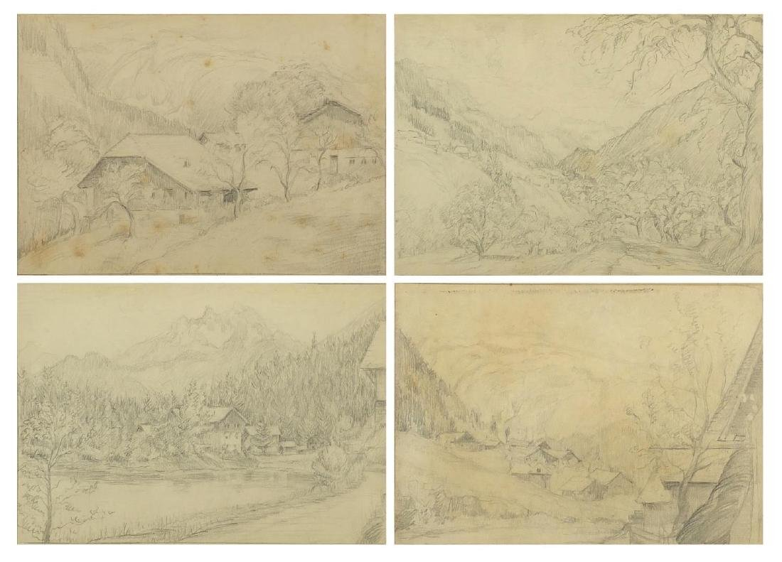 Four 1920's pencil drawings, each titled to the margins including Grand Hotel Chalet, each mounted
