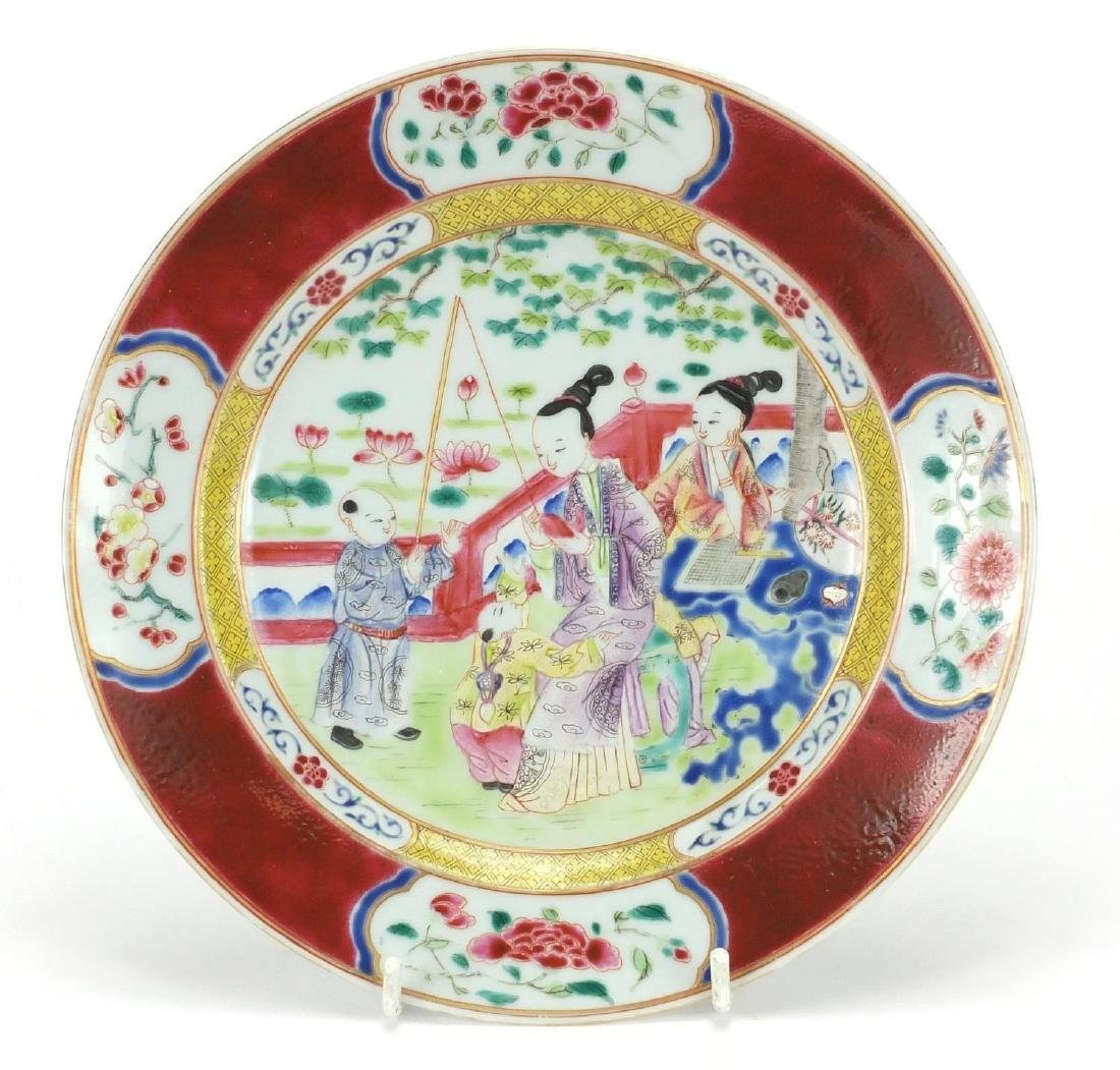 Chinese porcelain plate, finely hand painted in the famille rose palette with mother and children