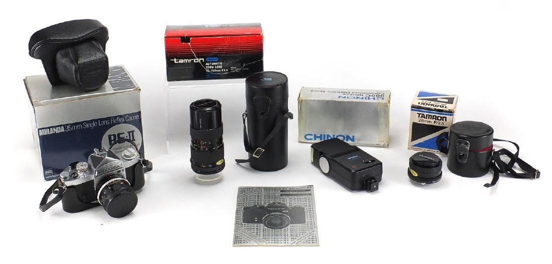 Miranda 35mm Reflex camera, two Tamron lenses and a Chinon electronic strobe, all boxed, the