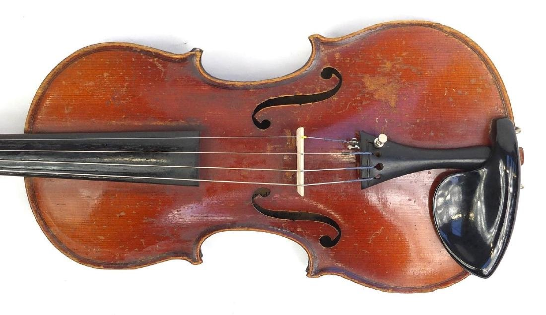 Old wooden violin with scrolled neck, bow and fitted carrying case, the violin bearing a German - 3