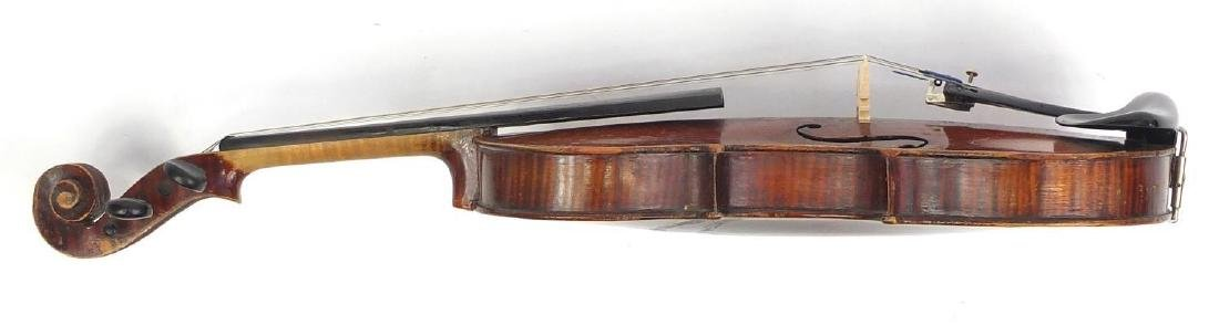 Old wooden violin with scrolled neck, bow and fitted carrying case, the violin bearing a German - 4