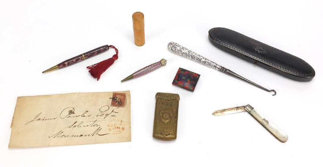 Antique and later miscellaneous objects including The Quadruple Needle Casket, silver bladed
