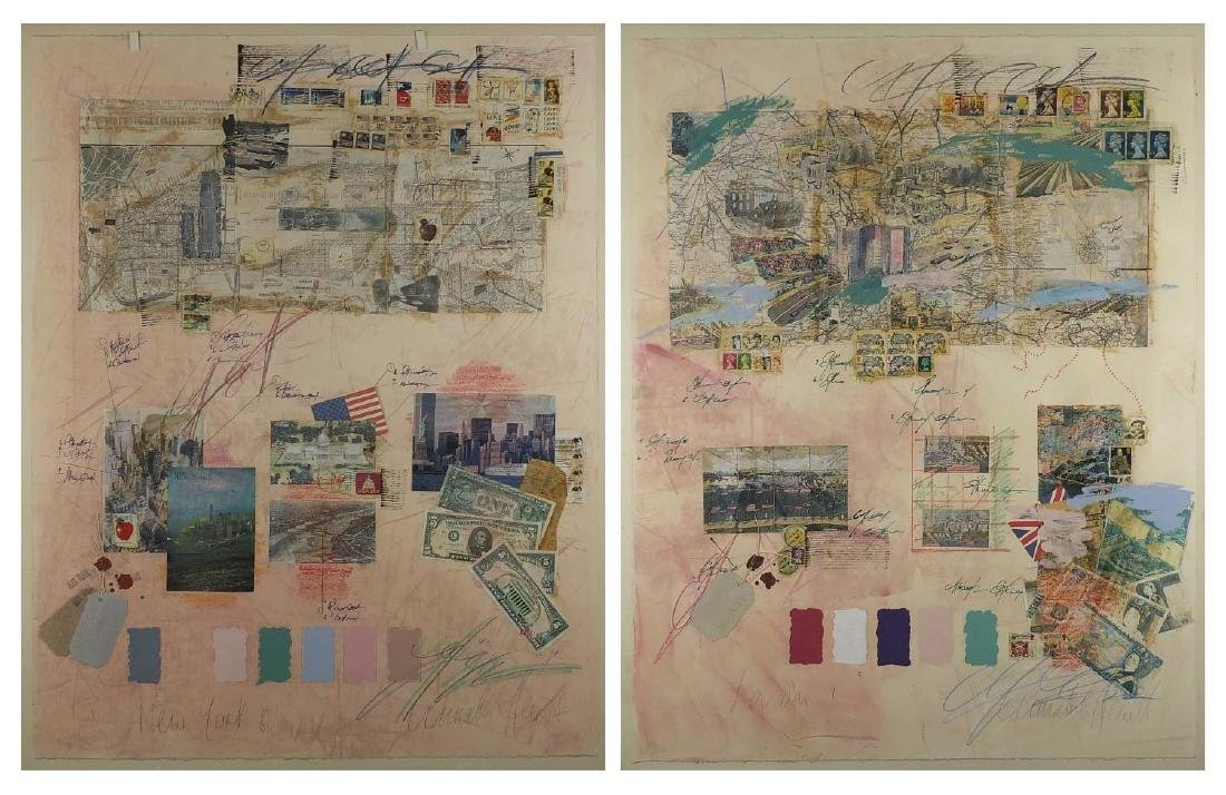 New York and London, pair of mixed media collages, both with indistinct signatures, framed, each