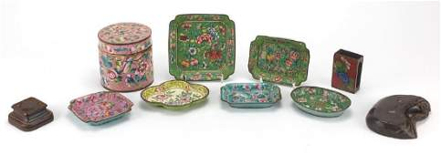 Chinese Canton enamelled dishes and cylindrical container, together with two hardwood stands and a
