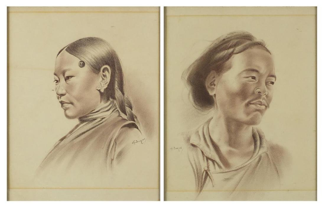 Goray Douglas - Tibetan figures in traditional dress, pair of head and shoulders portraits, both