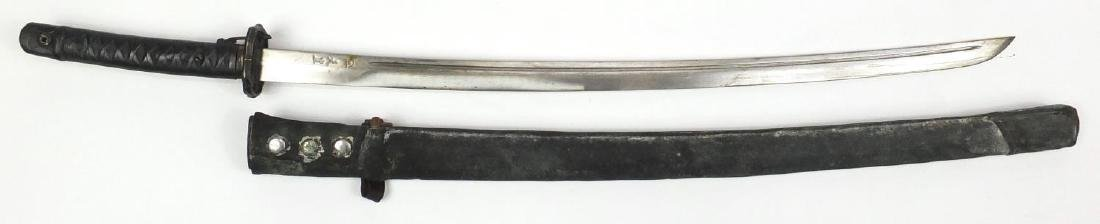 Japanese Military interest Samurai sword and scabbard, character marks to the blade, 94cm in