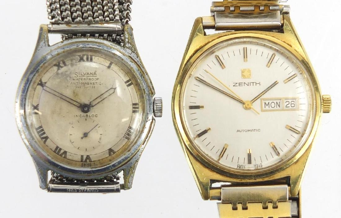 Two vintage gentleman's wristwatches, Zenith Surf automatic with day date dial and Silvana automatic