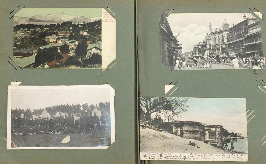 Mostly Military and social history postcards, some black and white photographic, arranged in an