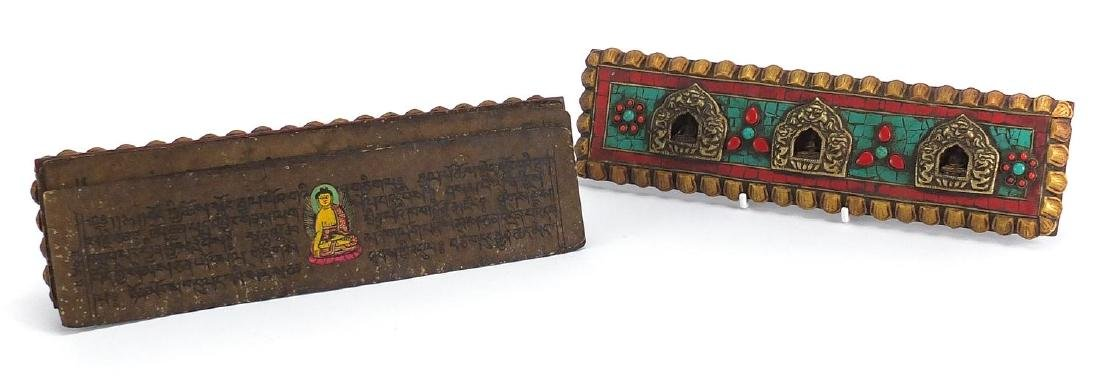 Tibetan carved wood prayer box set with turquoise and coral stones, containing various paper
