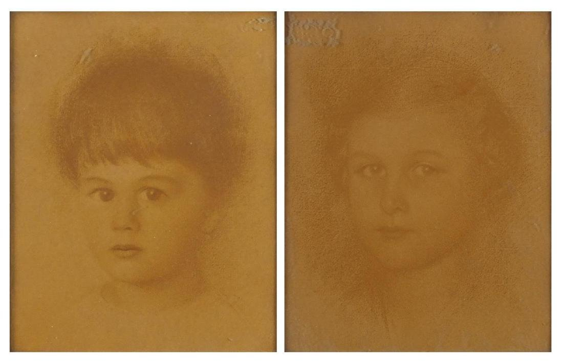 Walther Schachinger - Head and shoulders portraits, girl and boy, chalk on paper, each 22cm x 17cm