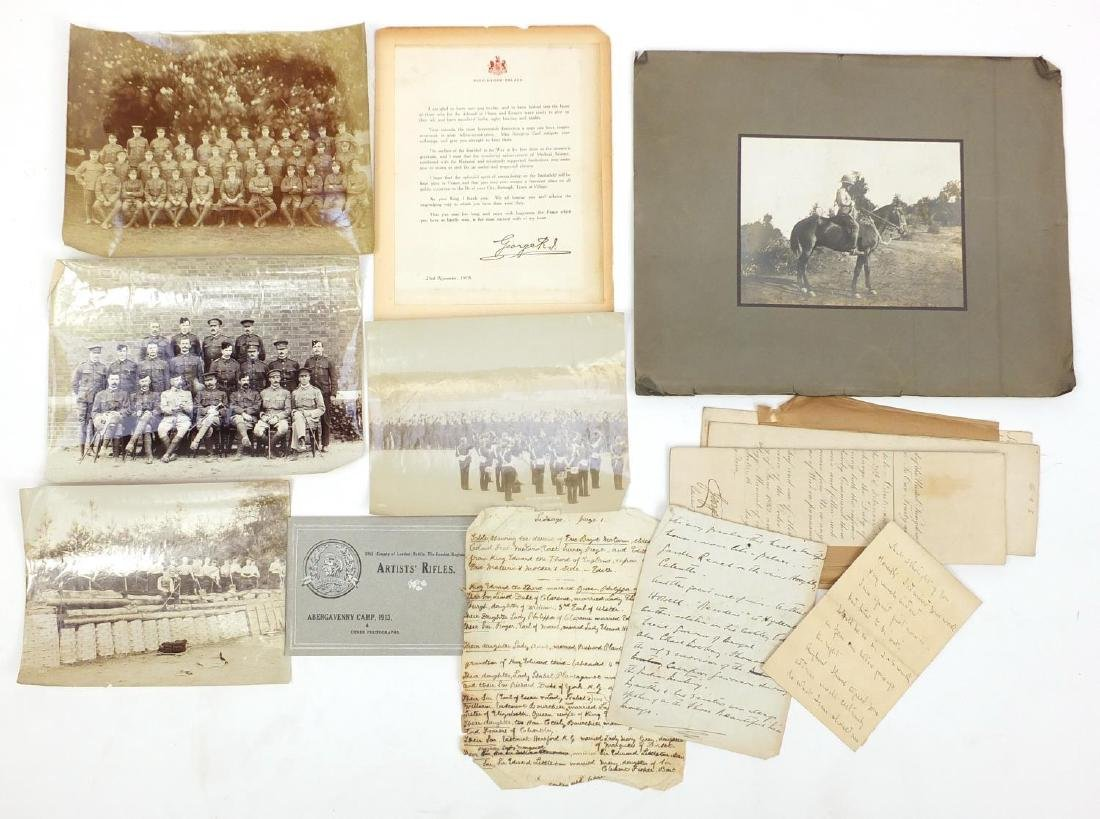 Military interest black and white photographs and ephemera, including hand written letters, and Boer