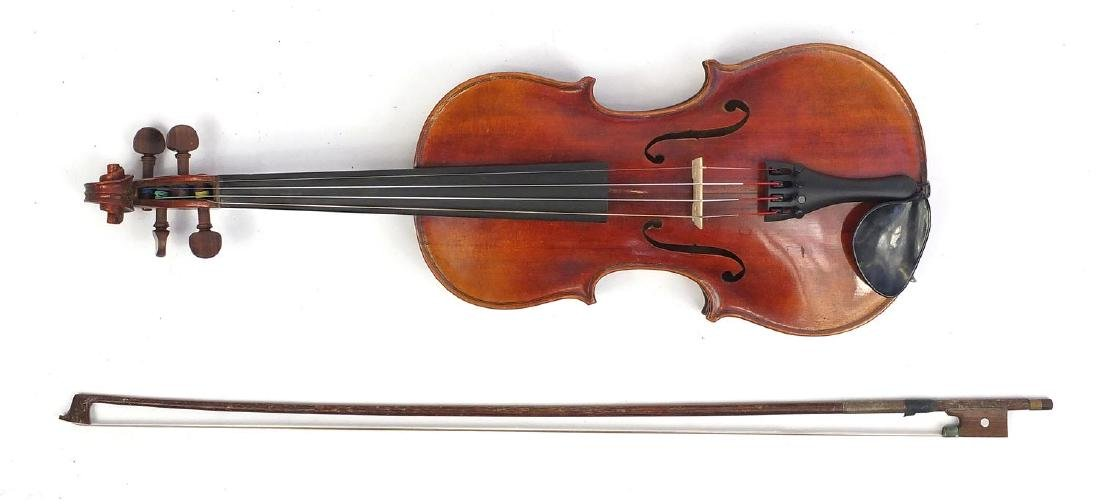 "Old wooden violin with scrolled neck, bow and fitted carrying case, the violin back 13.5"" in"