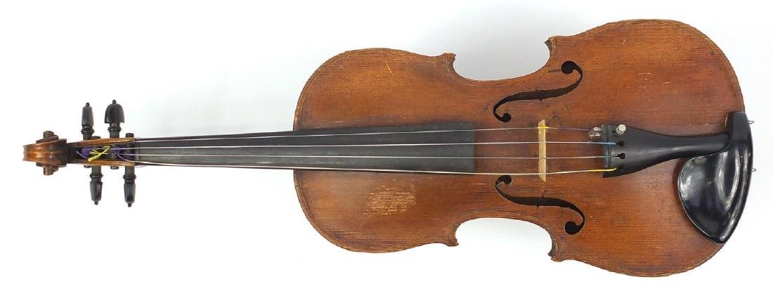 Old wooden violin with one piece back and scrolled neck, together with two unnamed violin bows and - 2