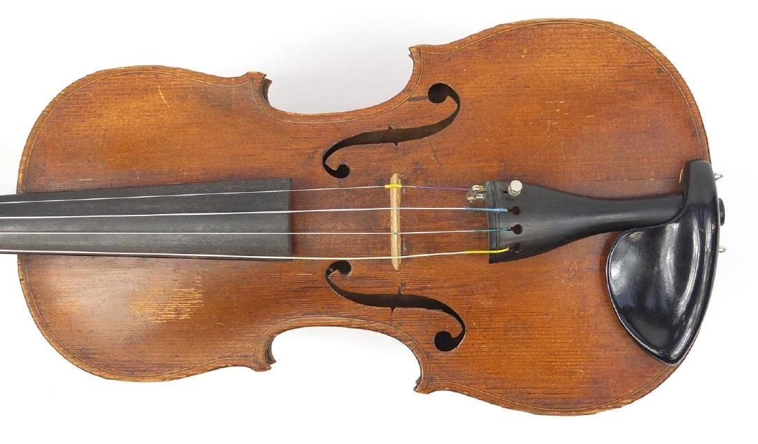 Old wooden violin with one piece back and scrolled neck, together with two unnamed violin bows and - 4