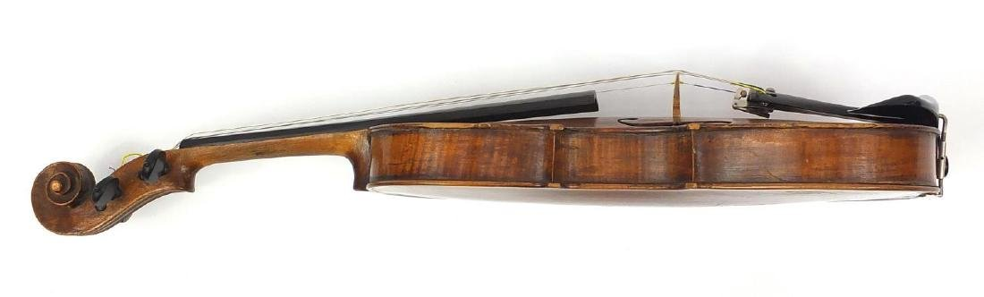 Old wooden violin with one piece back and scrolled neck, together with two unnamed violin bows and - 5