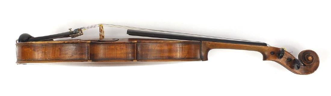 Old wooden violin with one piece back and scrolled neck, together with two unnamed violin bows and - 9