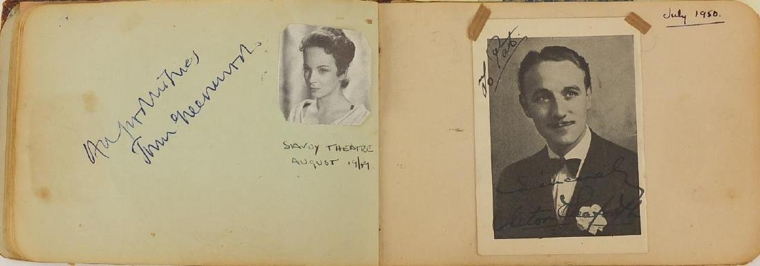 Collection of mostly theatrical autographs arranged in an album, collected at mostly London theatres