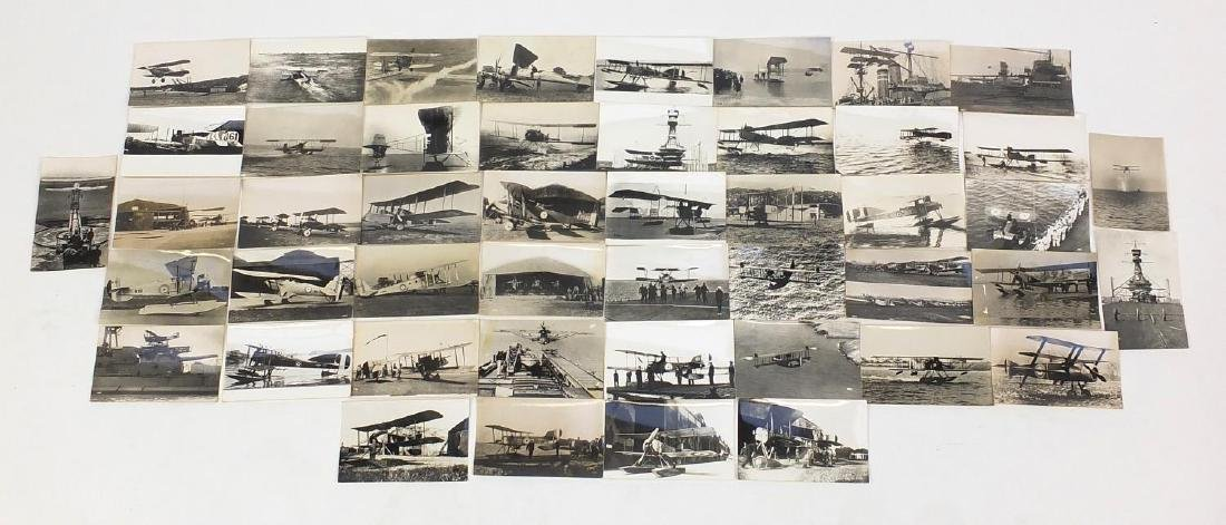 Military interest aviation black and white photographs and postcards, most with annotations to the