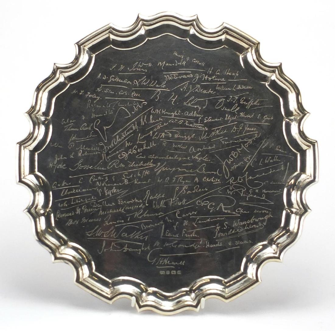 Military interest silver tray engraved with various names including Harold A Cottell and H G Heap,