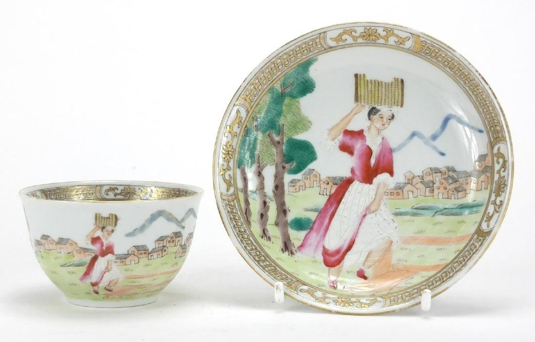 Chinese porcelain erotic tea bowl and saucer, hand painted in the famille rose palette with a female