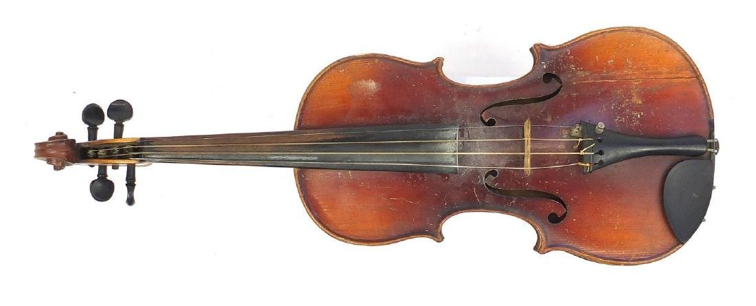 """Old wooden violin with scrolled neck, violin bow and fitted case, the violin back 14.75"""" in length"""