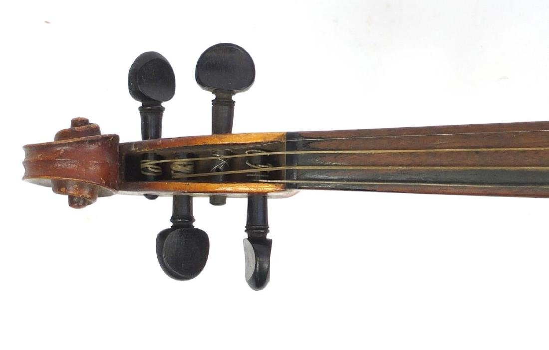 """Old wooden violin with scrolled neck, violin bow and fitted case, the violin back 14.75"""" in length - 2"""