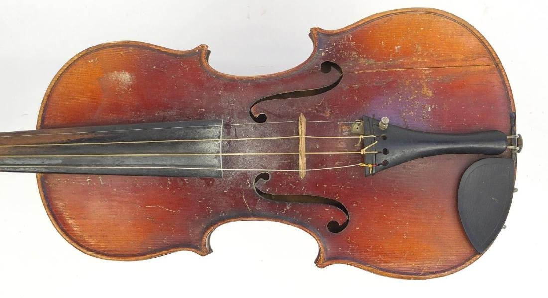 """Old wooden violin with scrolled neck, violin bow and fitted case, the violin back 14.75"""" in length - 3"""