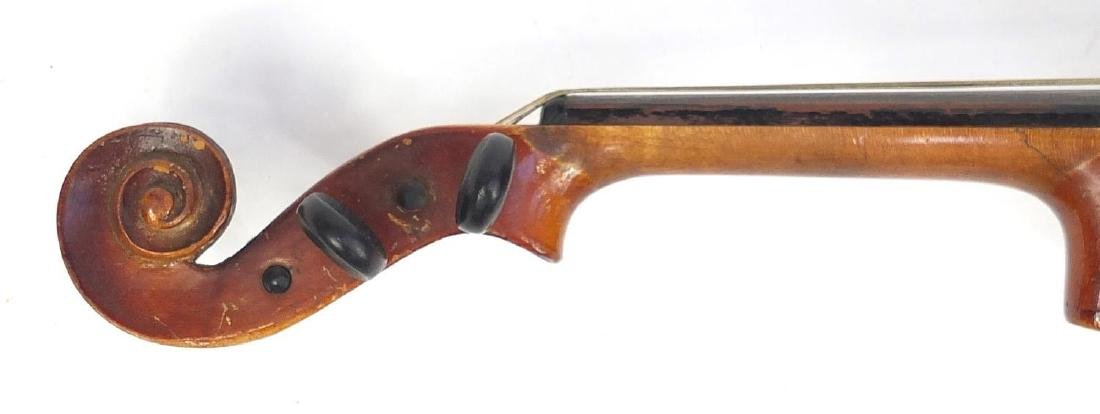 """Old wooden violin with scrolled neck, violin bow and fitted case, the violin back 14.75"""" in length - 5"""