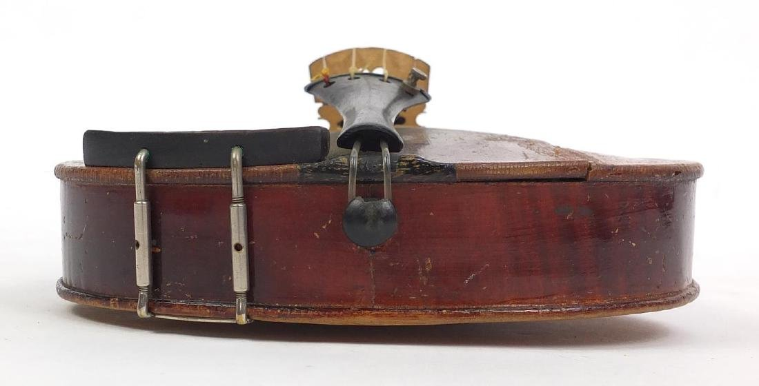 """Old wooden violin with scrolled neck, violin bow and fitted case, the violin back 14.75"""" in length - 6"""
